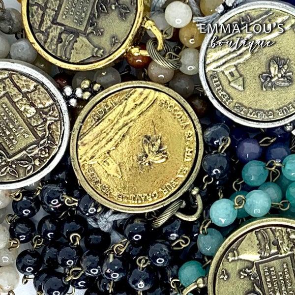 Melania Clara Josefina Long Beaded Necklace with Vintage Style Bee Medal