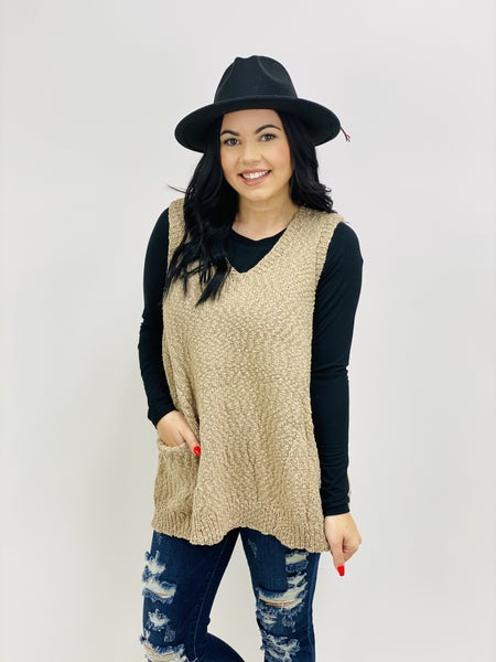 Pullover Sweater Vest with Side Pockets
