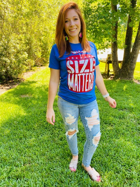 "SPRING HOLD ""Size Matters"" 4th of July Graphic Tee"