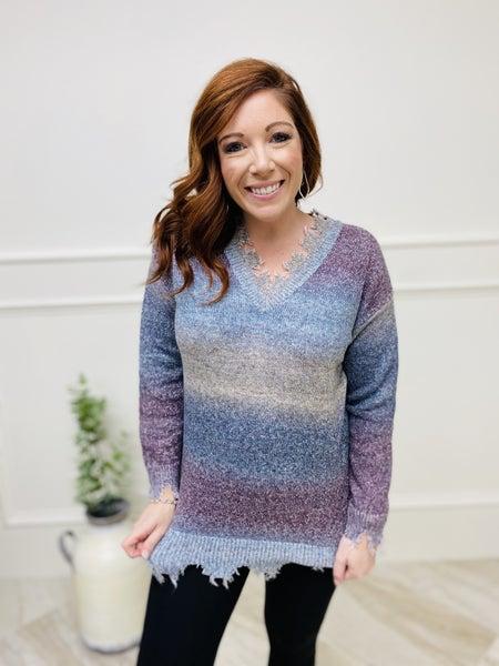 V-Neck Striped Distressed Sweater