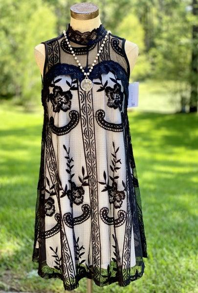 L&B Black Sleeveless Lace Dress with Ivory Lining