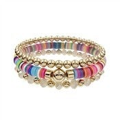 Rubber, Multi Crystal and Gold Beaded Set of 3 Stretch Bracelet