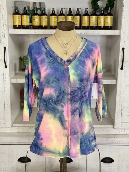 Neon Tie Dye 3/4 Length Sleeve Top