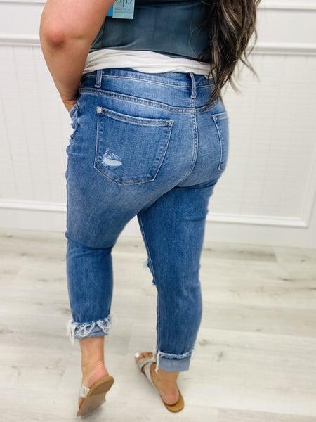 "Judy Blue ""Meredith"" Mid Rise Destroyed Boyfriend Fit Denim Jeans"