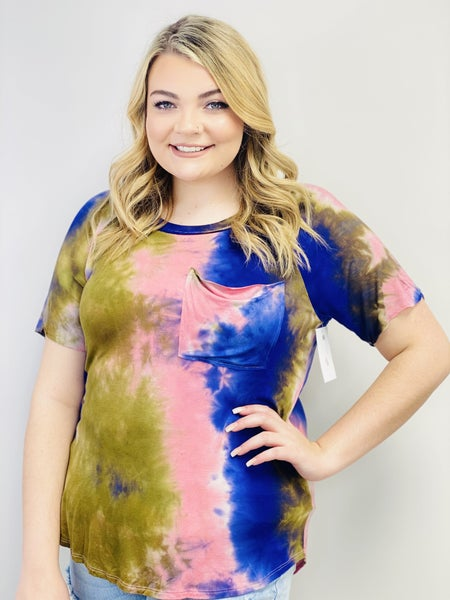 Short Sleeve Tie Dye Knit Top with Front Pocket