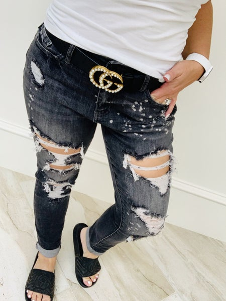 "Judy Blue ""Sabrina"" Black Denim Bleach Destroyed Cuffed Boyfriend Jean"
