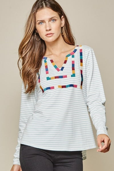 Andree by Unit Long Sleeve V-Neck Embroidered Top