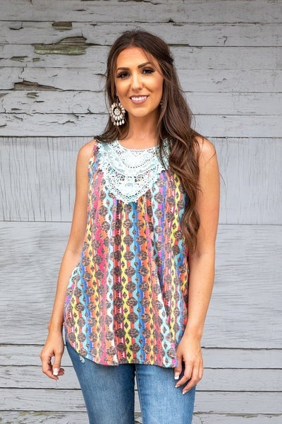 DAILY DEAL L&B Sleeveless Top with Crochet Accents