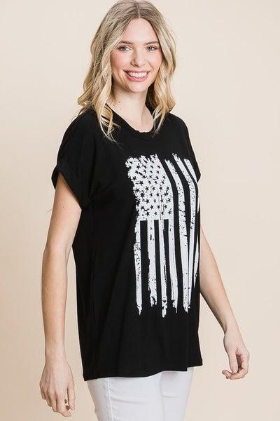 Flag Theme Grahic Print Short Sleeve Knit Top