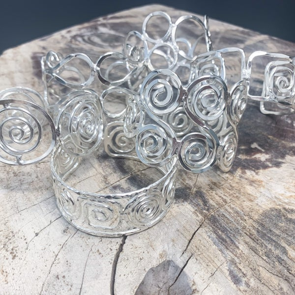 Anju Silver Plated Cuff Bracelets with Spiral Designs