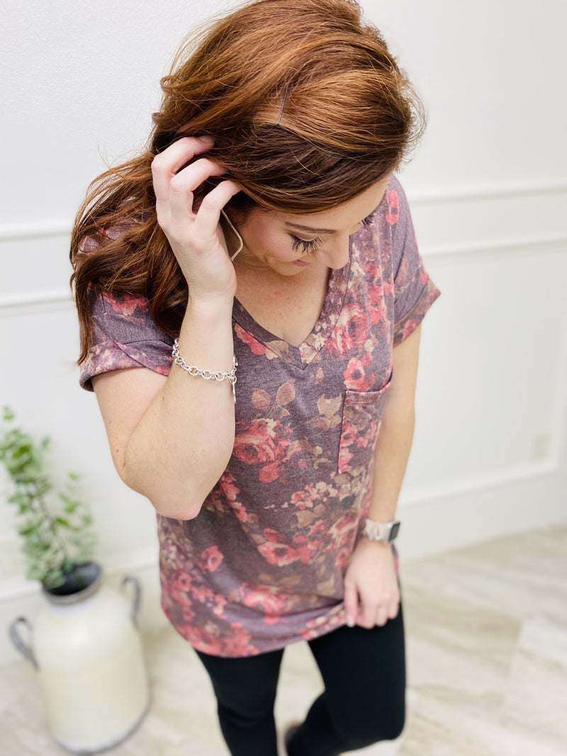 Cuffed Short Sleeve Floral Print Top with V-Neckline