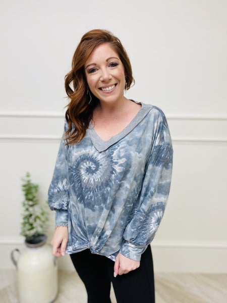 Long Sleeve  V-NeckTie Dye Top with Front Knot