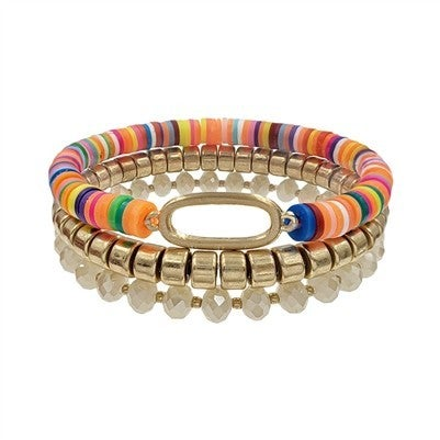 Multi Crystal Rubber and Open Oval Set of 3 Stretch Bracelet