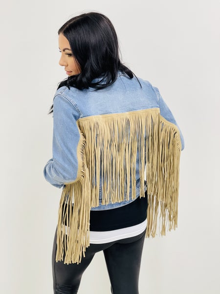 Judy Blue Denim Fringe Jacket
