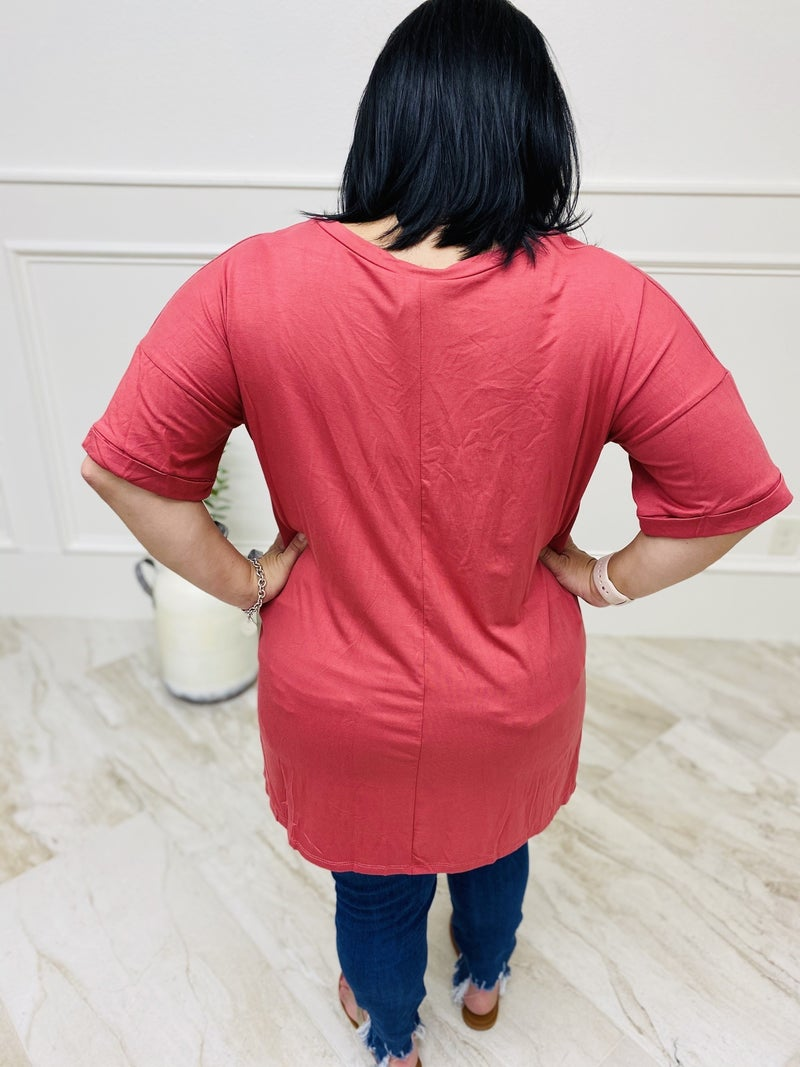 Solid Basic Short Cuffed Sleeve Top with V-Neckline and Front Pocket