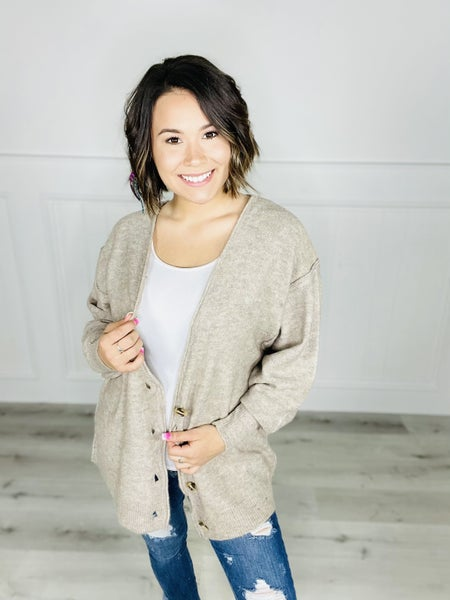 OVERSIZED BUTTON DOWN MELANGE SWEATER CARDIGAN