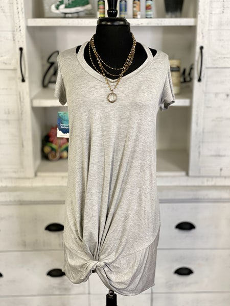 Split Neck SS Knotted Mini Dress