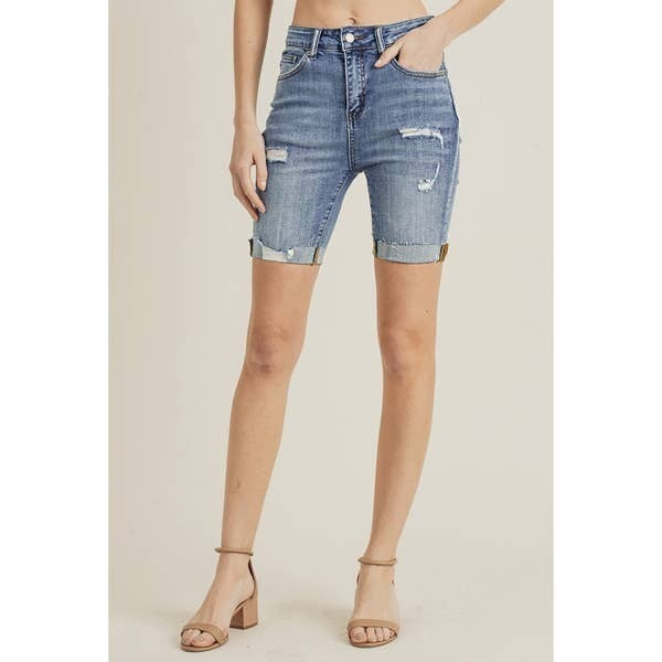 Risen Jeans High waist Distressed Mid-Length Denim Shorts