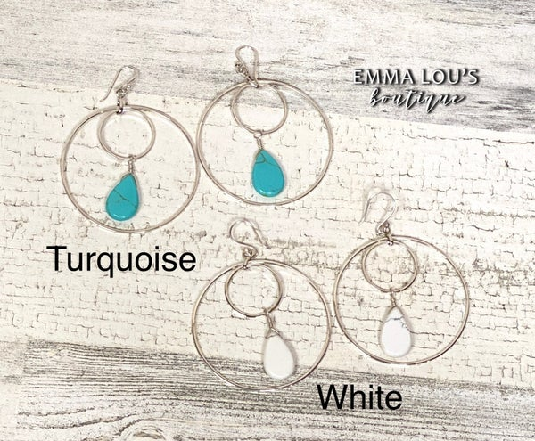 Special Sterling Silver Drop  Double Hoop Turquoise Earring DAILY DEAL