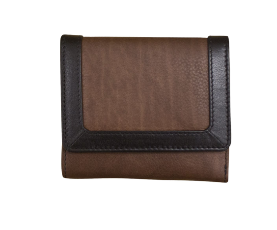 Multicolor trifold leather wallet with back zip