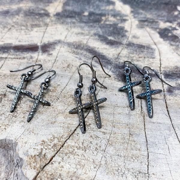 Gunmetal Cross Earrings with Crystal Embellishment