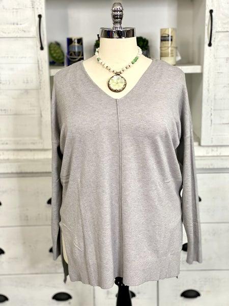 V Neck Long Sleeve Center Seam Detail Knit Sweater Top