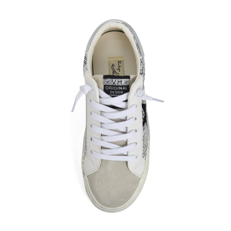 "Vintage Havana ""Kate"" Silver Snakeskin White Madness Tennis Shoes"