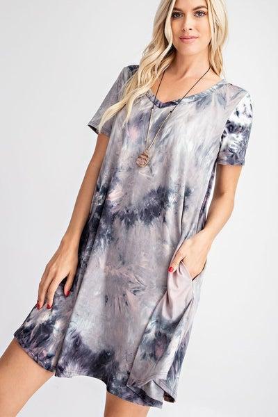 Tie Dye Swing Dress with Pockets