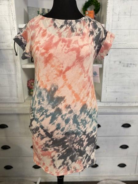 Cuffed Short Sleeve French Terry Tie Dye Dress