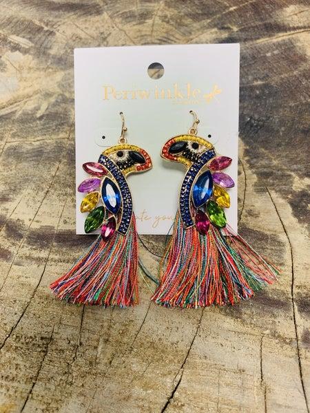 Multi Color Parrot Earrings