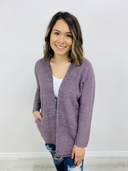 Marbled Color Open Front Cardigan