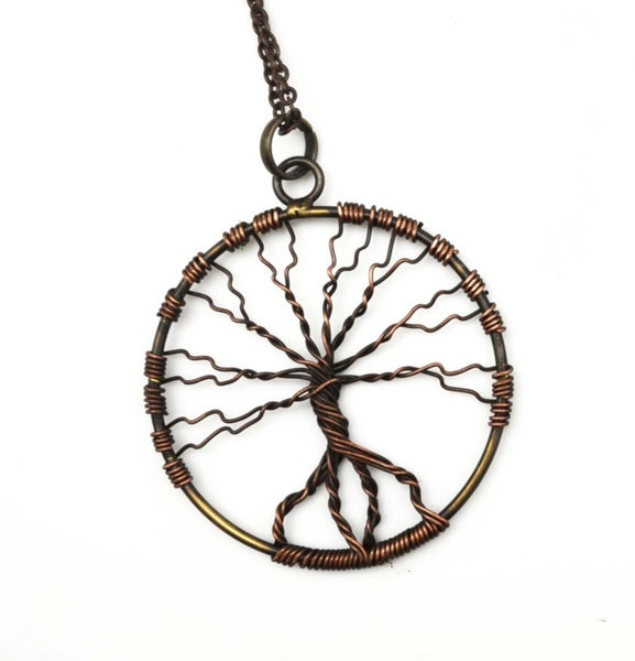 Antiqued Brass Tree of Life Necklace