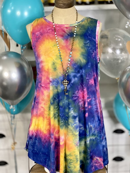 OMG! Sleeveless Tie Dye Dress with Pockets