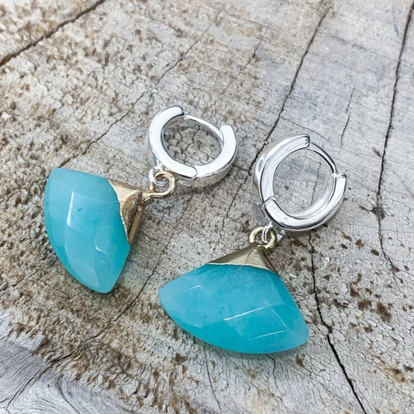 Small Hoop Earrings with Teal Stone Pendant