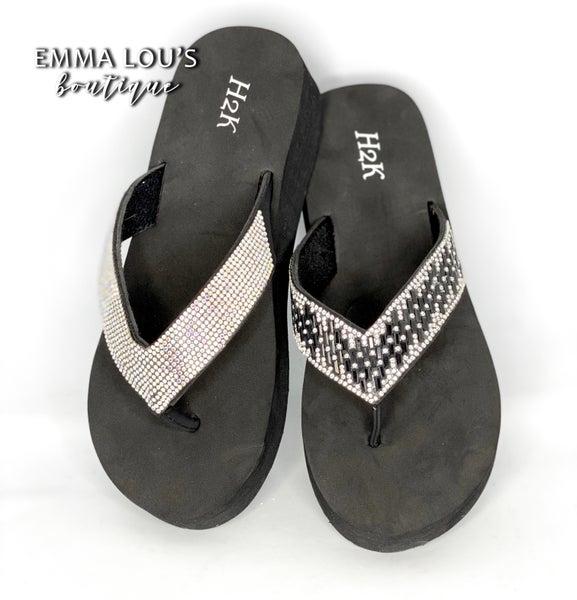 Black Bling Flip Flops