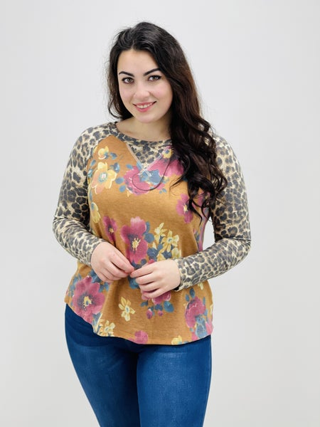 Long Sleeve Floral Top with Predator Print Sleeves