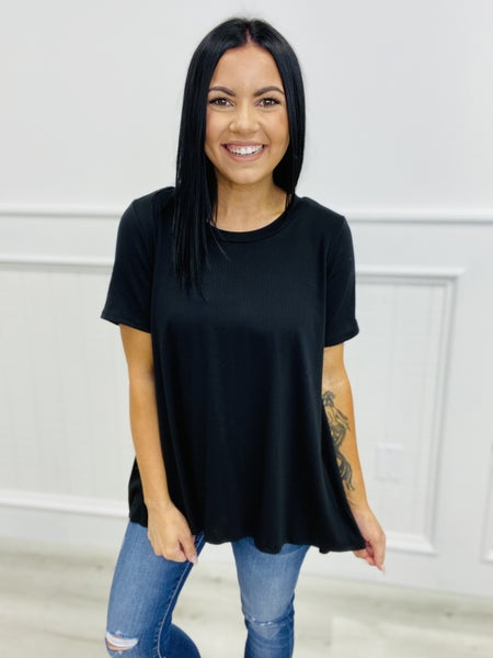Ribbed Crew Neck Short Sleeve Top