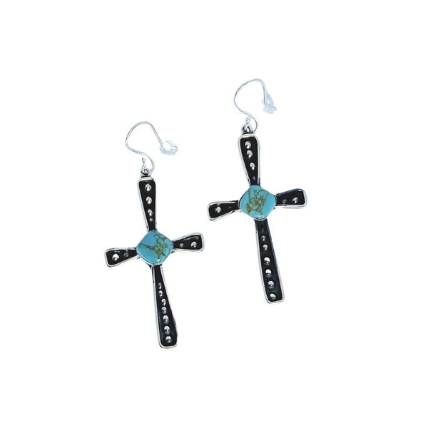 Sterling Silver & Turquoise Cross Earrings