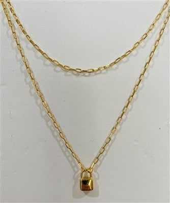 """Gold Chain 2 Layered Lock 16""""-18"""" Necklace"""