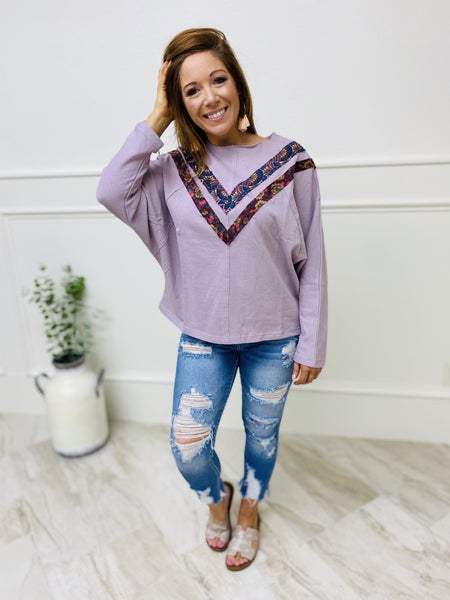 Easel Dolman Sleeve Solid and Chevron Print Contrast Top