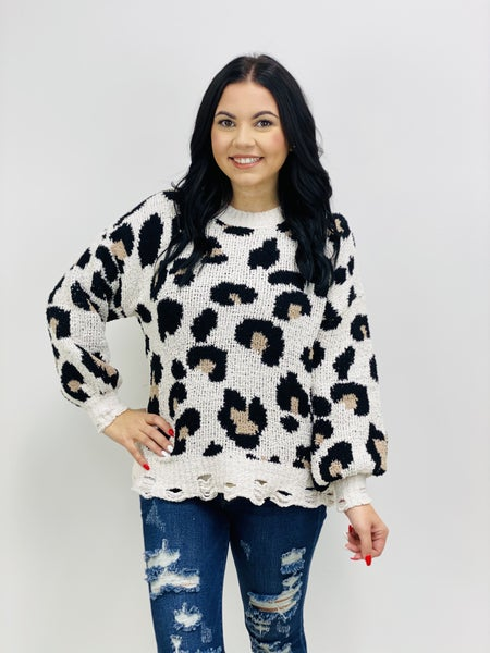 Drop Shoulder Round Neck Long Sleeve Predator Print Sweater with Distressed Trim