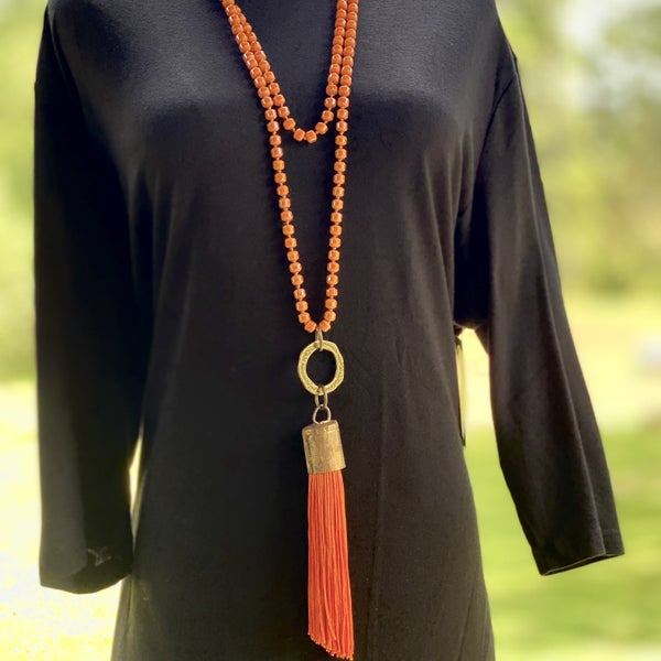 Art By Amy Long Beaded Necklace with Tassel
