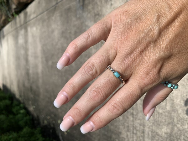 Sterling Silver Cable Stacker ring with Turquoise