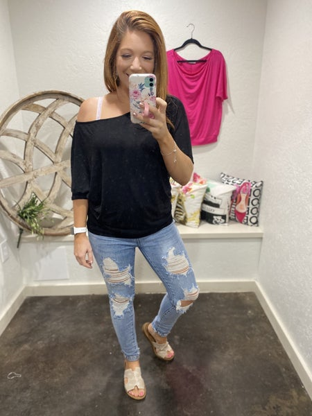 DAILY DEAL - Short Sleeve Solid Knit Top