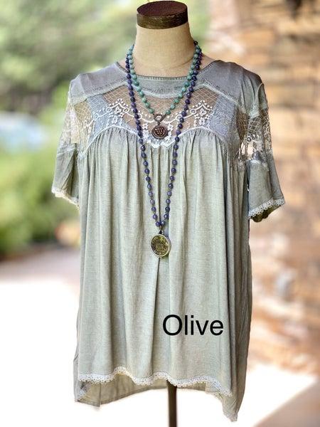 Knit Rayon Jersey Lace Top