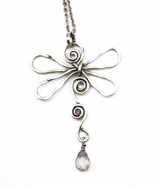 Anju Silver and Rose Quartz Dragonfly Collection