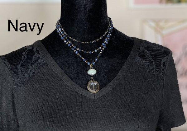 Melania Clara Triple Strand Necklace with Pendant