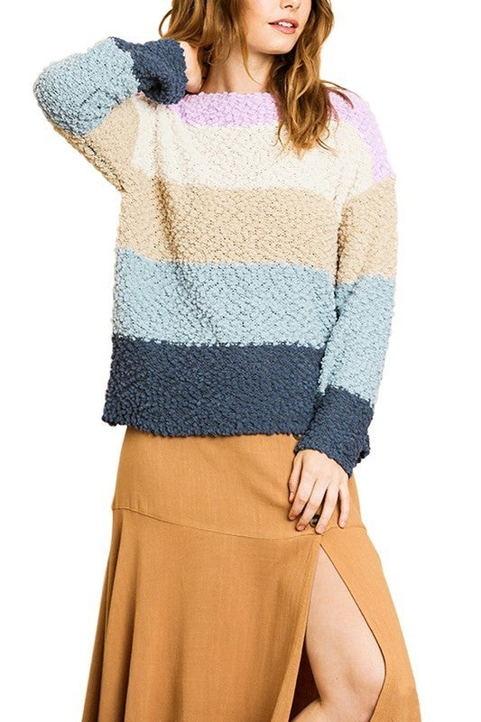 Long Sleeve Color Block Fuzzy Popcorn Pullover Sweater