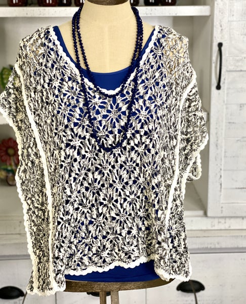 Swirl In Colors & Floral Lightweight Knit Sweater