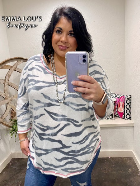 Honeyme Ivory and Charcoal Top